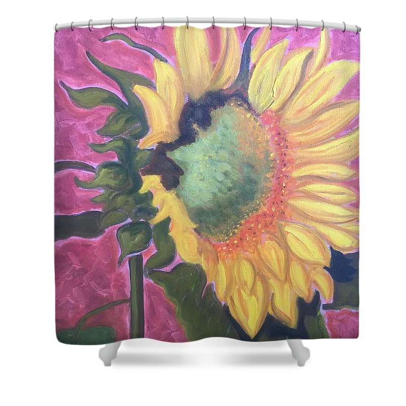 Flower Shower Curtain featuring the painting New Mexico Sunflower by Ruth Hansen