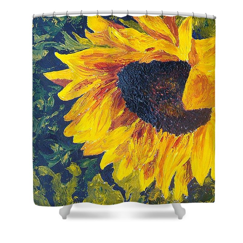 Shower Curtain featuring the painting Sunflower by Tami Booher