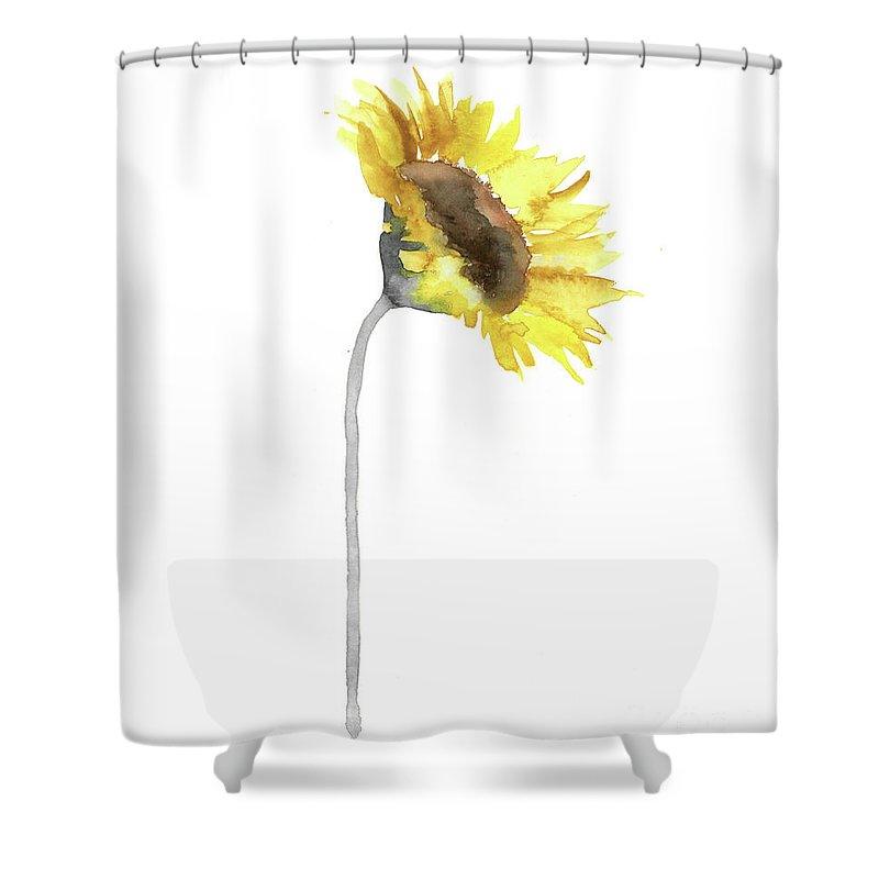 Sunflower Wall Decor Watercolor Painting Yellow Flower Gray Stem Minimalist Art Print Shower Curtain For Sale By Joanna Szmerdt