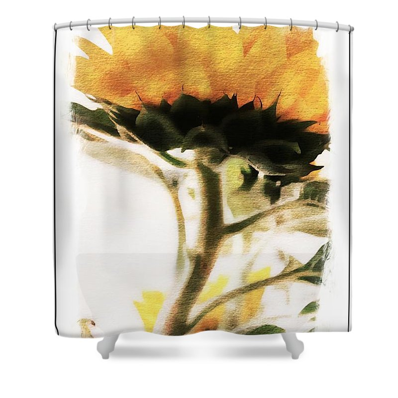 Sunflower Shower Curtain featuring the photograph Sunflower Watercolor by Clare Bevan