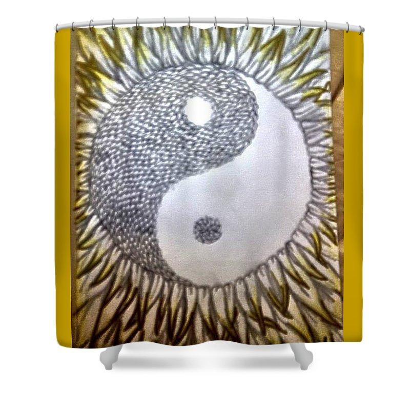 Sunflower Shower Curtain featuring the drawing Sunflower Zen by Kasandra Burns