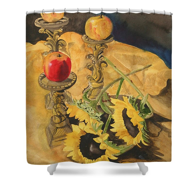 Still Life Shower Curtain featuring the painting Sunflowers And Apples by Jean Blackmer
