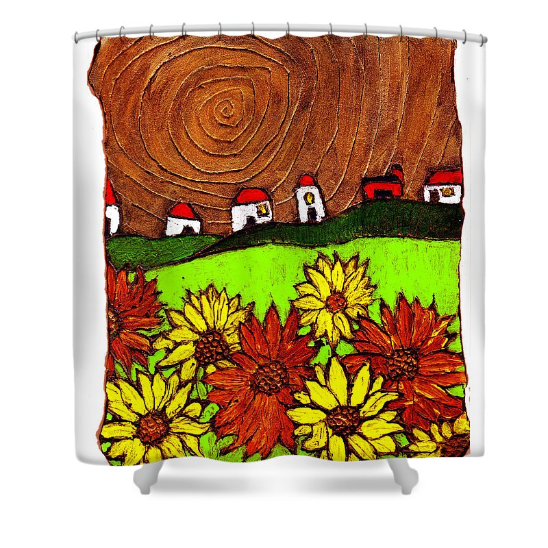 Flowers Shower Curtain featuring the painting Sunflowers And Fields by Wayne Potrafka