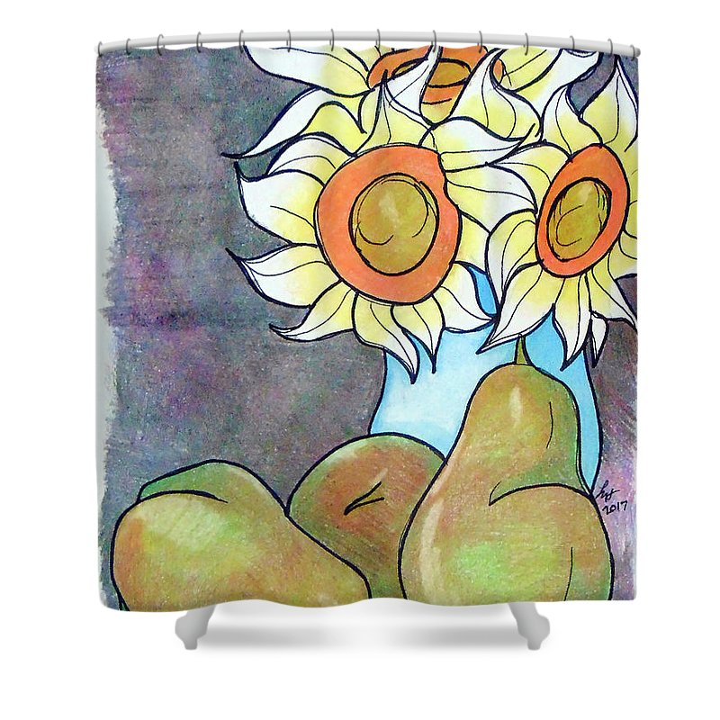 Sunflowers Shower Curtain featuring the drawing Sunflowers And Pears by Loretta Nash