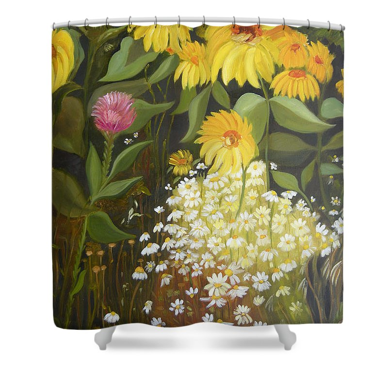 Landskape Shower Curtain featuring the painting Sunflowers by Antoaneta Melnikova- Hillman