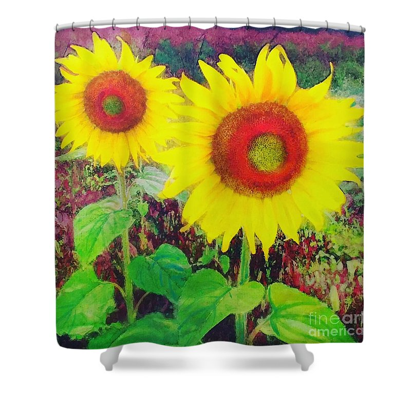 Sunflowers Shower Curtain featuring the photograph Sunflowers by Gina Signore