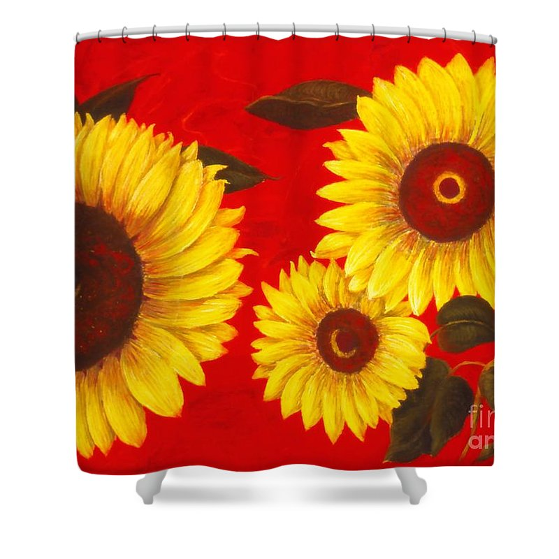 Flowers Shower Curtain featuring the painting Sunflowers IIi by Mary Erbert