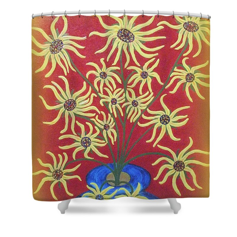 Birthdays Shower Curtain featuring the painting Sunflowers In A Blue Vase by Marie Schwarzer
