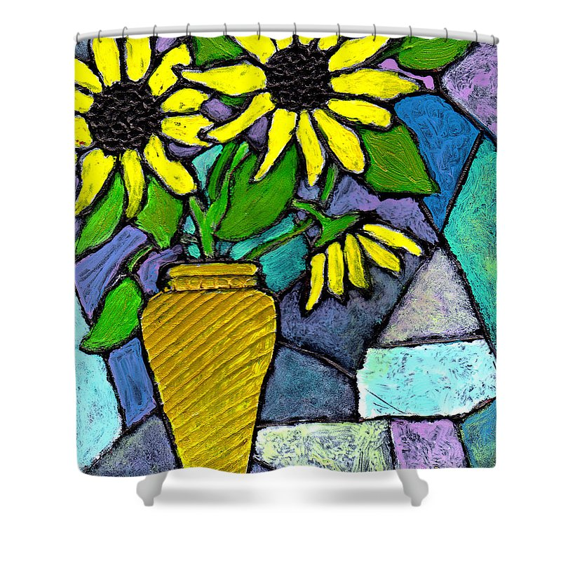Flowers Shower Curtain featuring the painting Sunflowers In A Vase by Wayne Potrafka