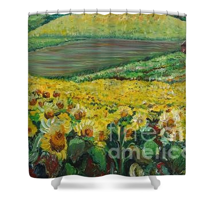 A Field Of Yellow Sunflowers Shower Curtain featuring the painting Sunflowers In Provence by Nadine Rippelmeyer