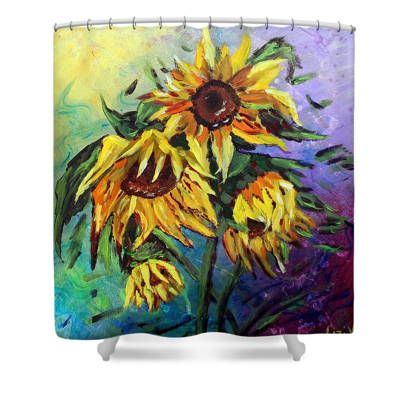 Art Shower Curtain featuring the painting Sunflowers In The Rain by Luiza Vizoli