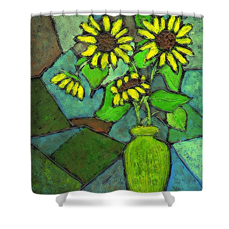 Sunflowers Shower Curtain featuring the painting Sunflowers In Vase Green by Wayne Potrafka