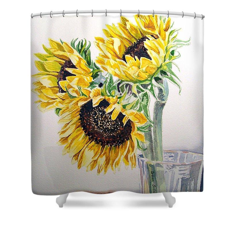 Sunflowers Shower Curtain featuring the painting Sunflowers by Irina Sztukowski