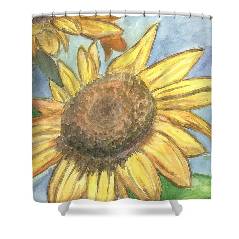 Daisy Shower Curtain featuring the painting Sunflowers by Jacqueline Athmann