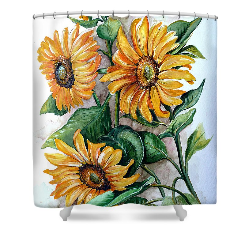 Flower Paintings Yellow Flower Paintings Floral Paintings Botanical Paintings  Sun Flower Paintings Greeting Card Paintings Canvas Paintings Prints Paintings  Shower Curtain featuring the painting Sunflowers by Karin Dawn Kelshall- Best
