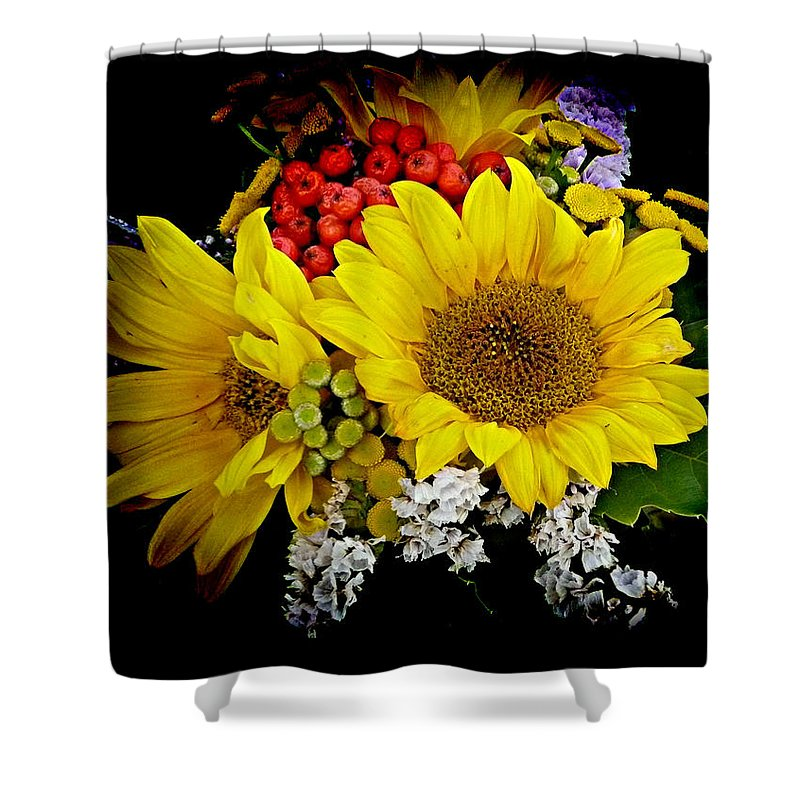Sunflower Shower Curtain featuring the photograph Sunflowers by Lori Seaman