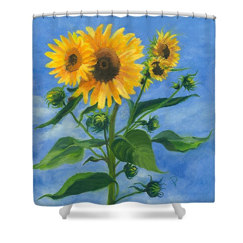 Flowers Shower Curtain featuring the painting Sunflowers On Bauer Farm by Paula Emery