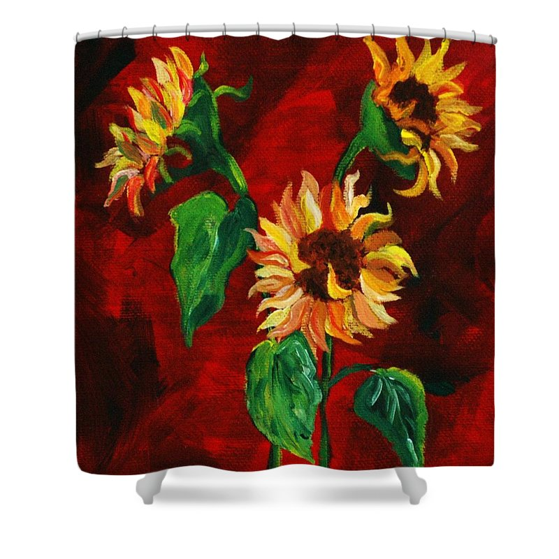 Flowers Shower Curtain featuring the painting Sunflowers On Rojo by Melinda Etzold