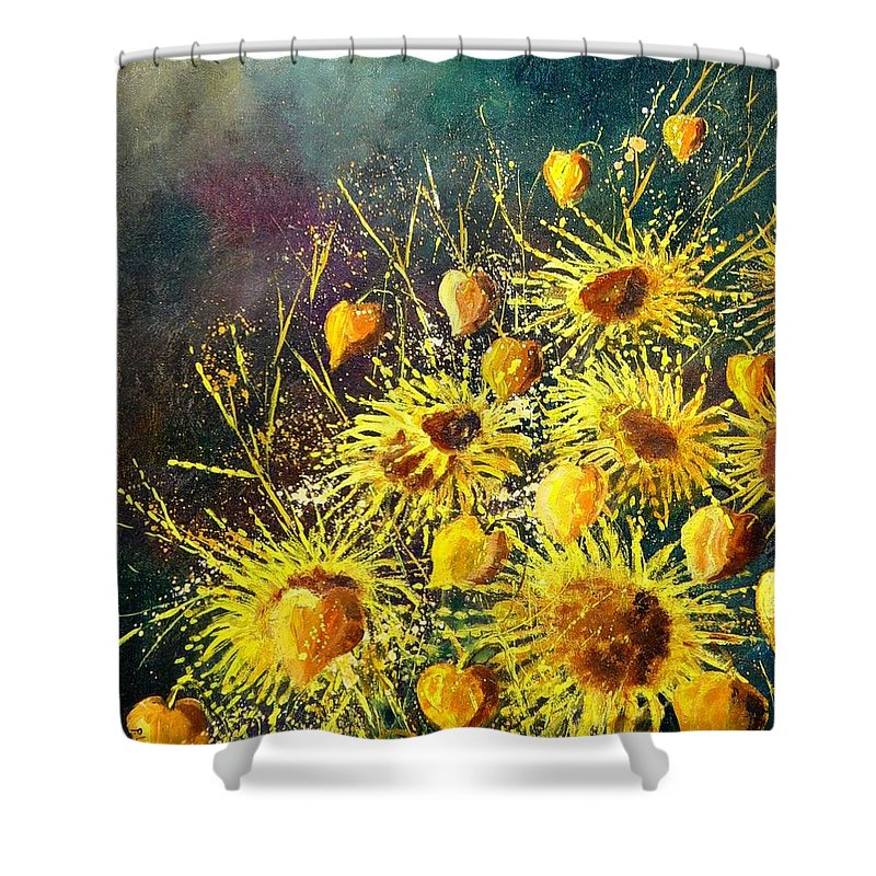 Flowers Shower Curtain featuring the painting Sunflowers by Pol Ledent