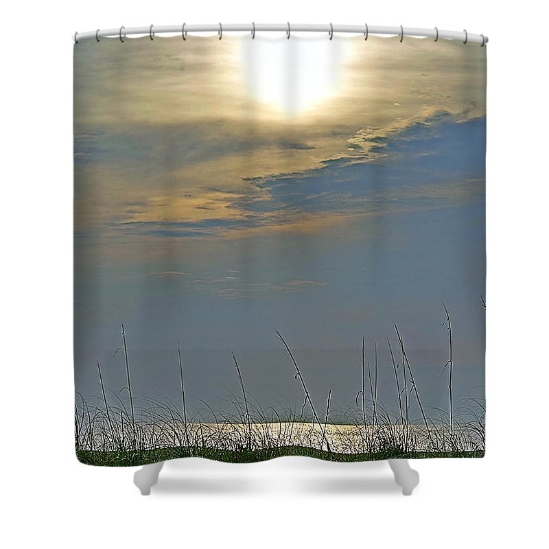 Fort Pierce Shower Curtain featuring the photograph Sunglare by Bruce Roker