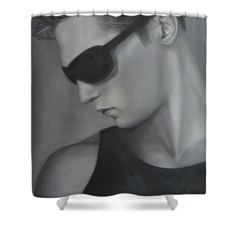 Man Shower Curtain featuring the painting Sunglasses by Lynet McDonald