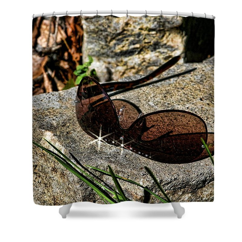 Sun Shower Curtain featuring the photograph Sunglasses On Stone by Cathy Harper