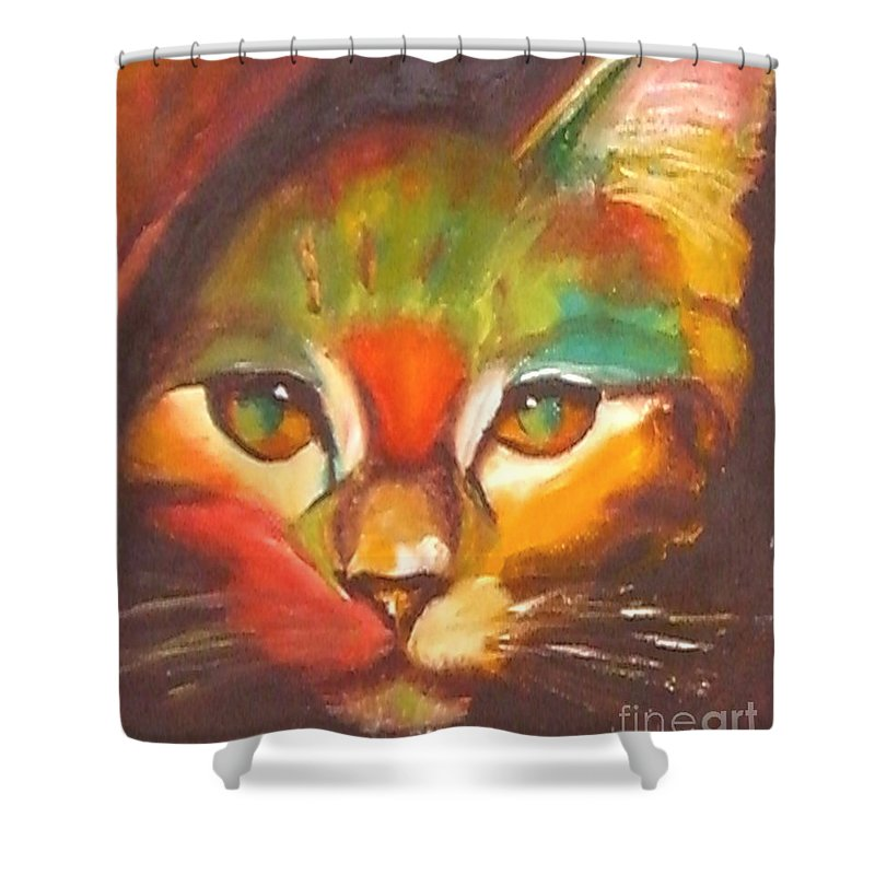 Cat Shower Curtain featuring the painting Sunkist by Susan A Becker