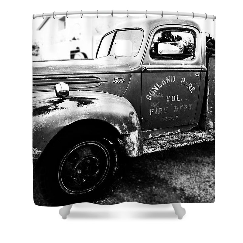 Truck Shower Curtain featuring the photograph Sunland Park by Alyssa Fleming