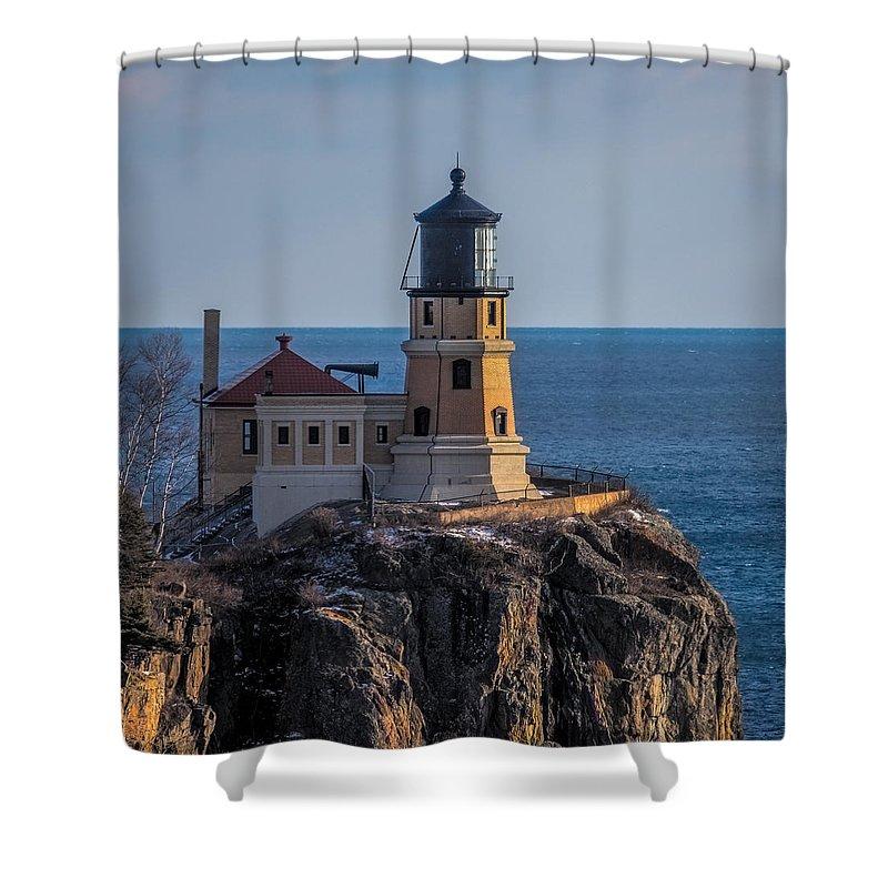 Split Rock Lighthouse Shower Curtain Featuring The Photograph Sunlight On By Paul Freidlund