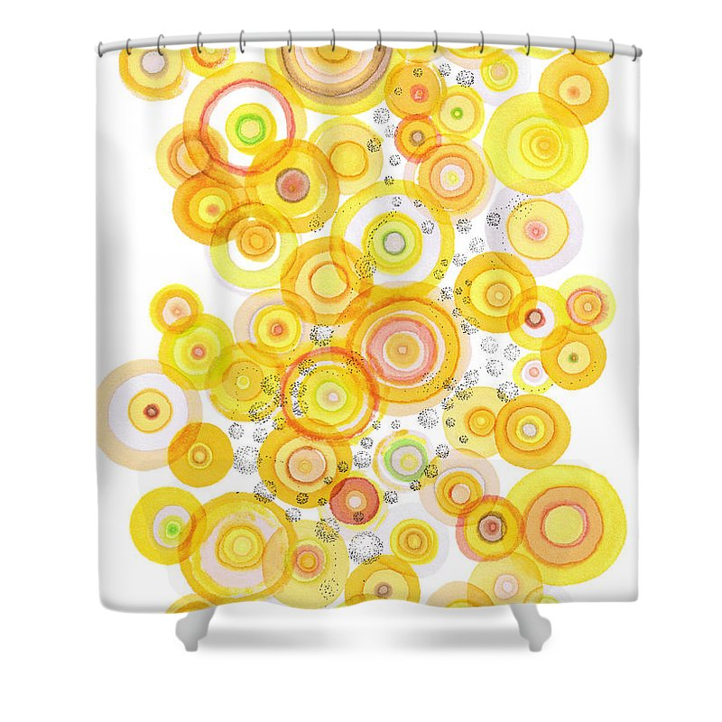 Happy Shower Curtain featuring the drawing Sunlight Ripples by Regina Valluzzi