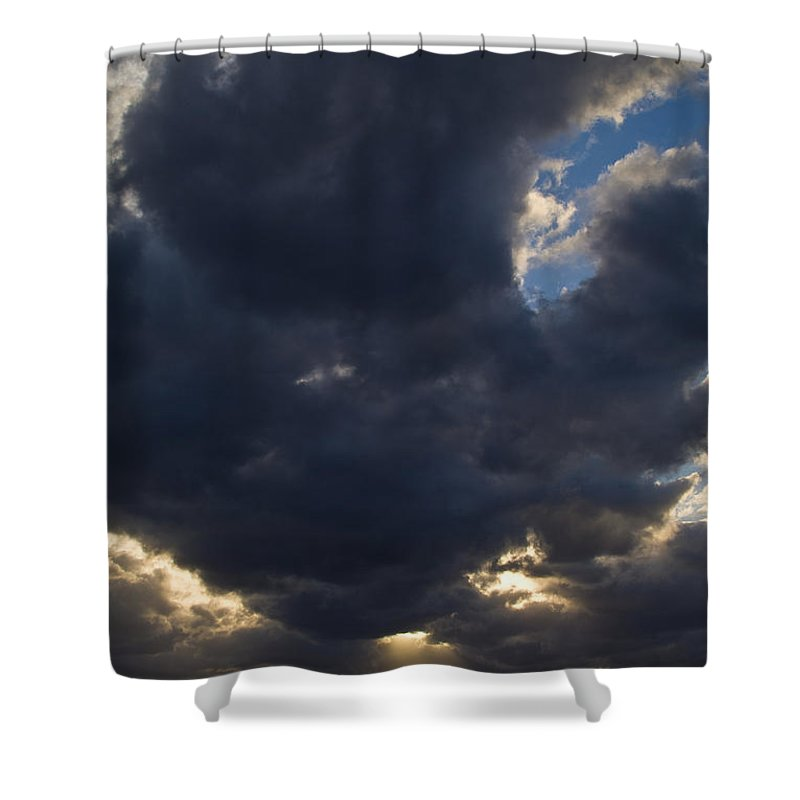 Caribbean Sea Shower Curtain featuring the photograph Sunlight Through Dramatic Clouds by Todd Gipstein