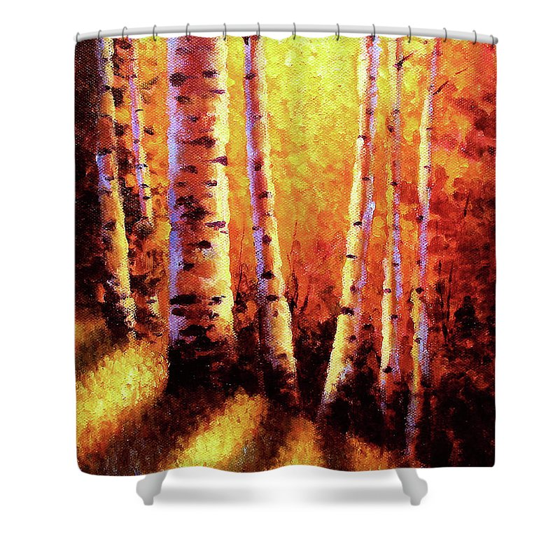 Sunlight Shower Curtain featuring the painting Sunlight Through The Aspens by David G Paul
