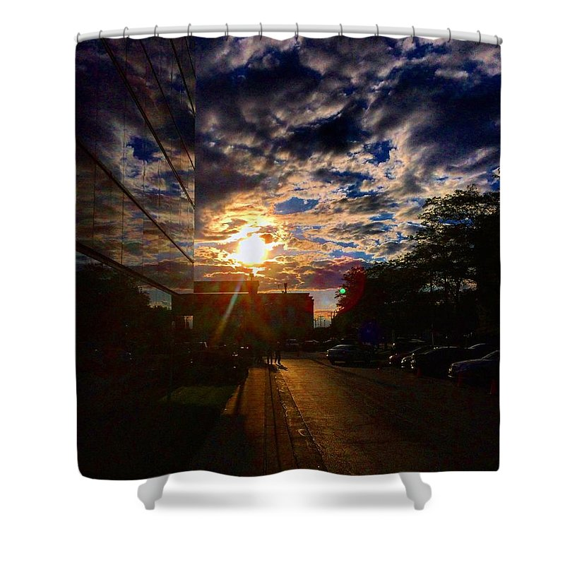 Clouds Shower Curtain featuring the photograph Sunlit Cloud Reflection by Nick Heap