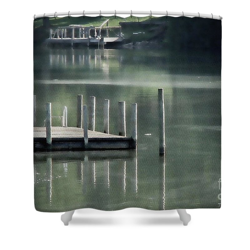Dock Shower Curtain featuring the photograph Sunlit Dock by Todd A Blanchard