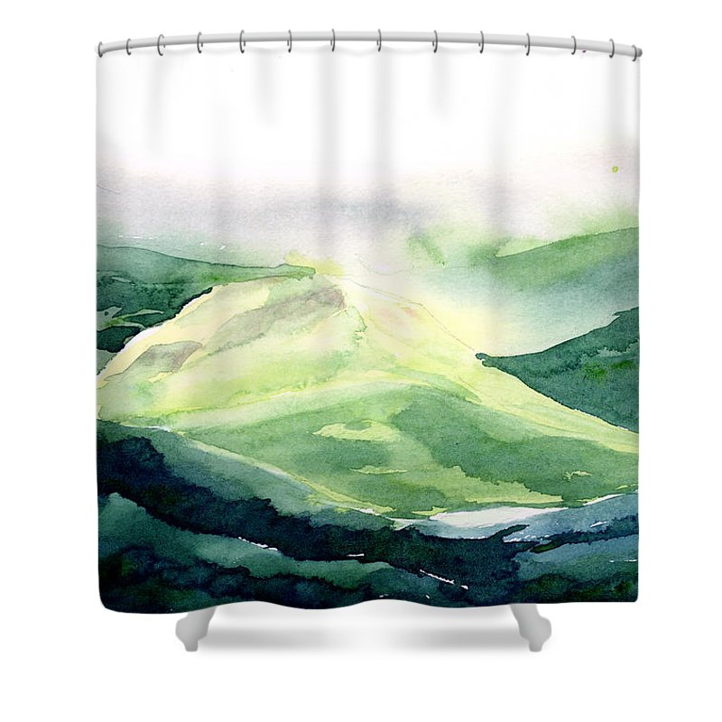 Landscape Shower Curtain featuring the painting Sunlit Mountain by Anil Nene
