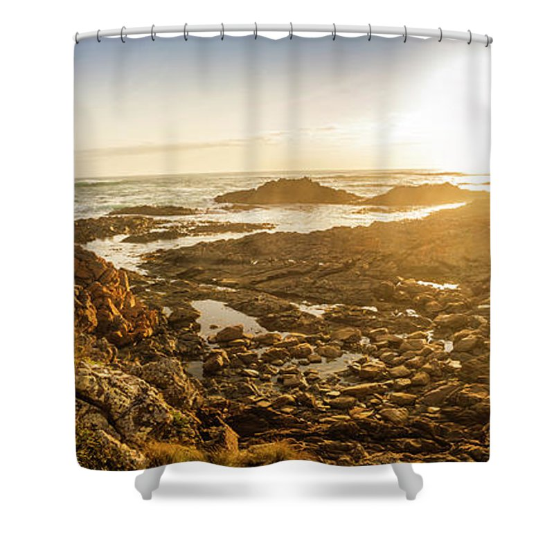 Coastline Shower Curtain featuring the photograph Sunlit Seaside by Jorgo Photography - Wall Art Gallery