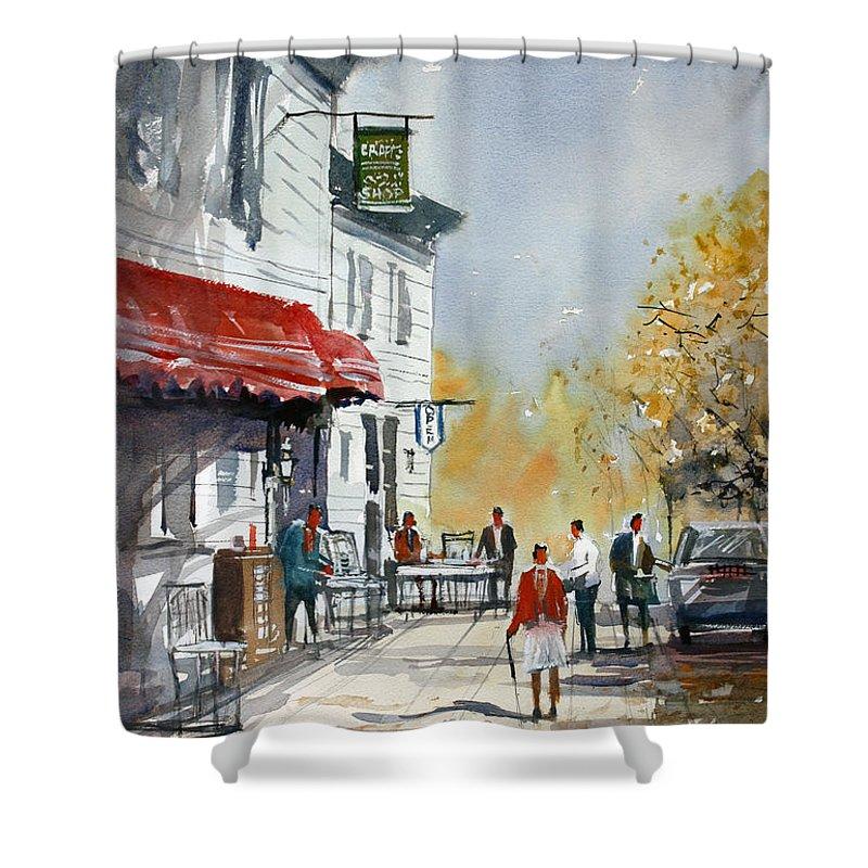 Ryan Radke Shower Curtain featuring the painting Sunlit Sidewalk - Neshkoro by Ryan Radke