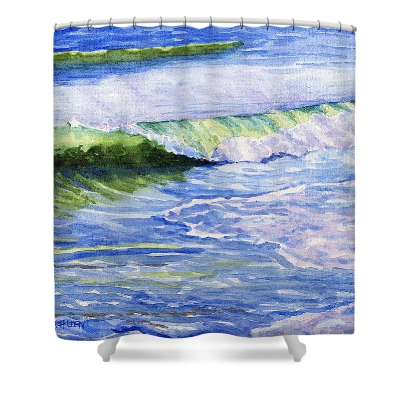 Seascape Shower Curtain featuring the painting Sunlit Surf by Sharon E Allen