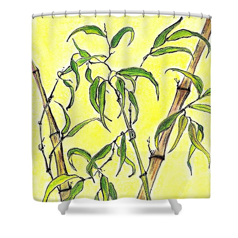 Sunny. Bamboo Shower Curtain featuring the mixed media Sunny Bamboo by Irina Davis