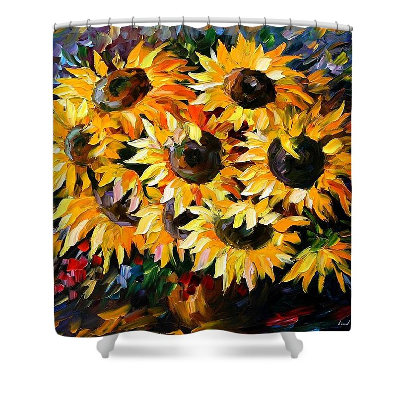 Floral Shower Curtain featuring the painting Sunny Bouquet by Leonid Afremov