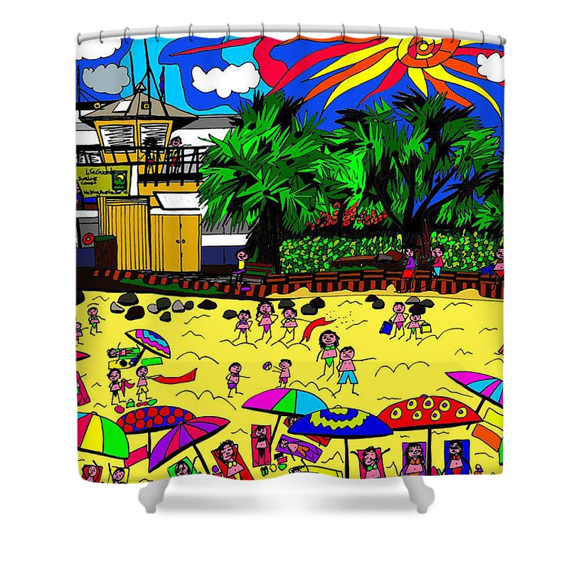 Beach Shower Curtain featuring the digital art Sunny Day At The Beach by Karen Elzinga
