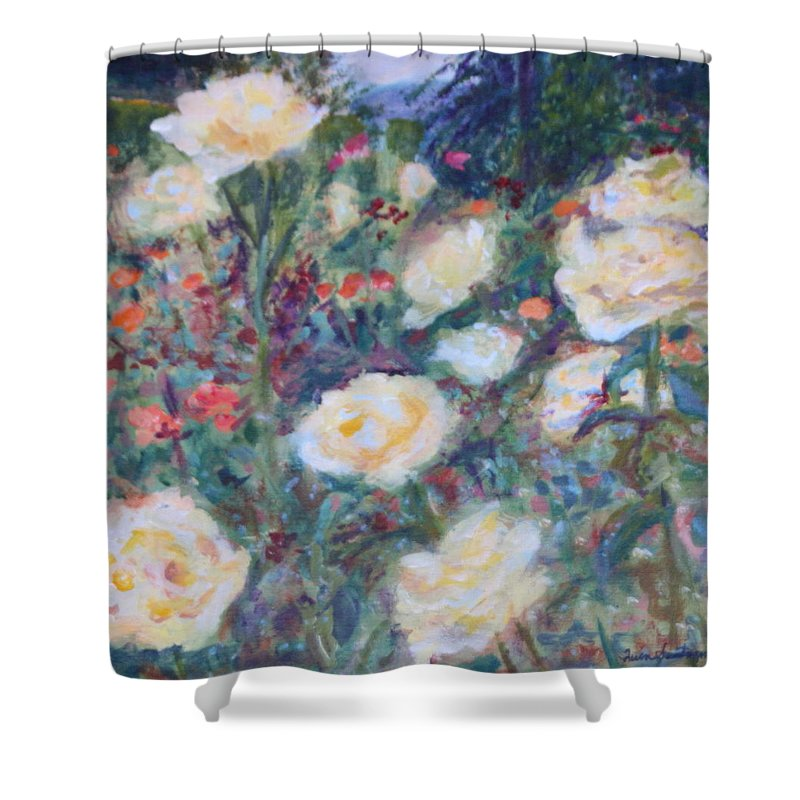 Quin Sweetman Shower Curtain featuring the painting Sunny Day At The Rose Garden by Quin Sweetman