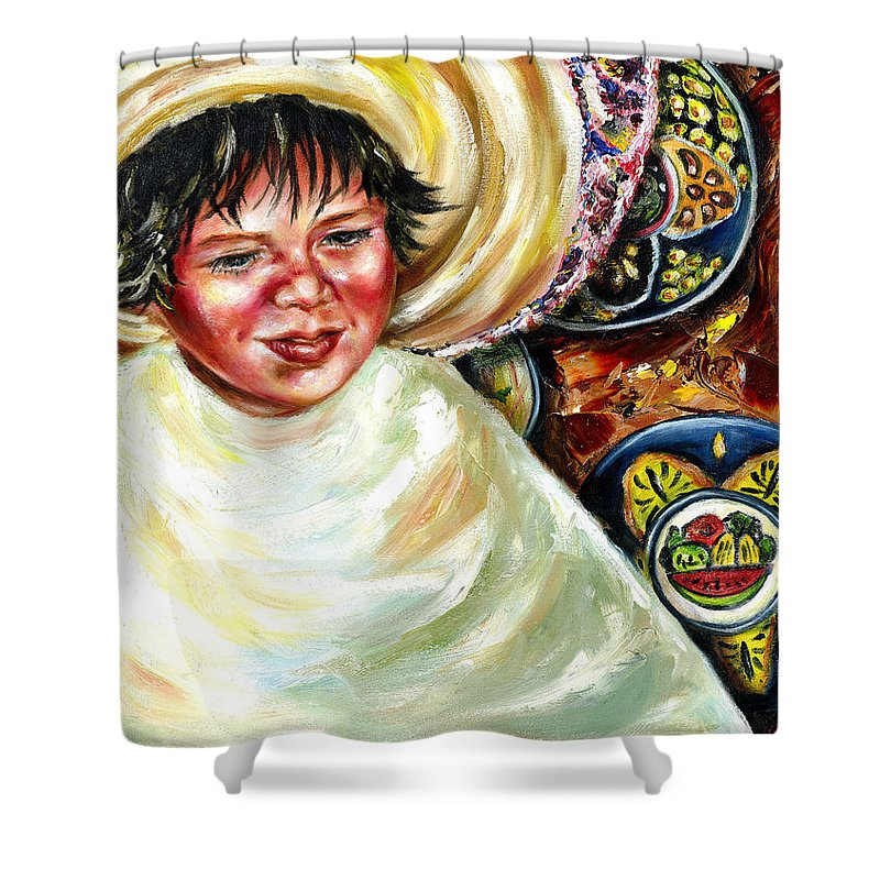 Child Shower Curtain featuring the painting Sunny Day by Hiroko Sakai