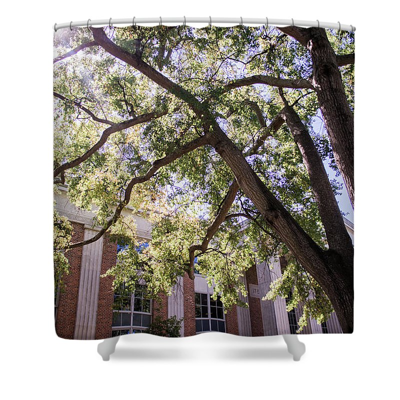Abraham Baldwin Shower Curtain Featuring The Photograph Sunny Days At Uga  By Parker Cunningham