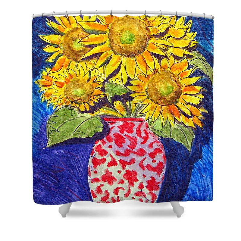 Sunflower Shower Curtain featuring the painting Sunny Disposition by Jean Blackmer