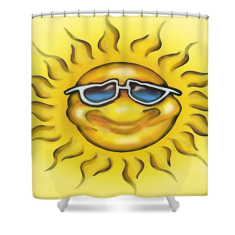 Sun Shower Curtain featuring the painting Sunny by Kevin Middleton