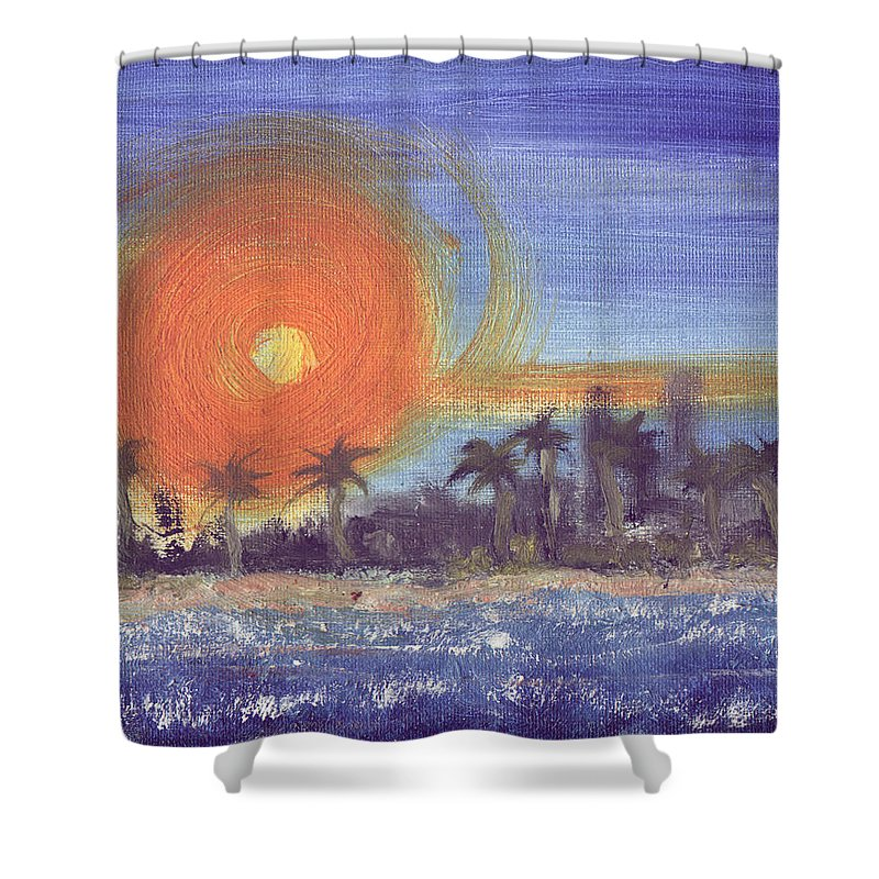 Seashore Shower Curtain featuring the painting Sunny Palms by Jorge Delara