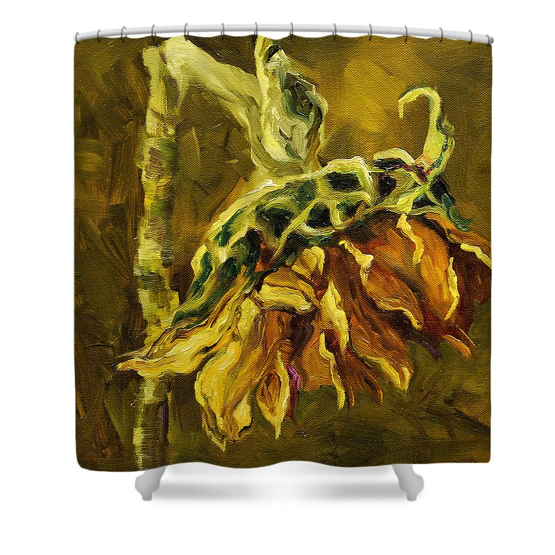 Floral Shower Curtain featuring the painting Sunny Sunflower by Diane Whitehead