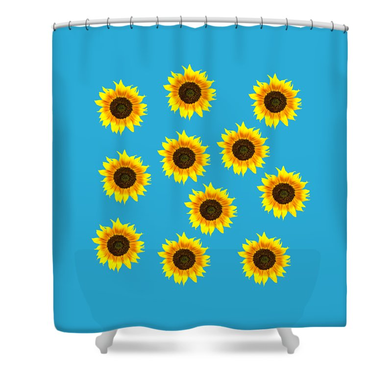 Sunflowers Shower Curtain featuring the photograph Sunny Sunflowers by Judith Flacke