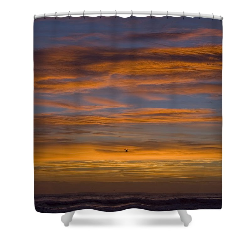 Sun Sunrise Cloud Clouds Morning Early Bright Orange Bird Flight Fly Flying Blue Ocean Water Waves Shower Curtain featuring the photograph Sunrise by Andrei Shliakhau